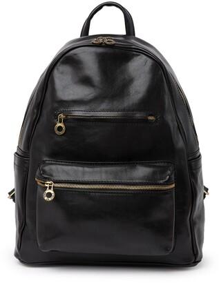 Anna Luchini Camo Print Leather Backpack