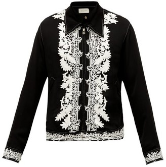 BED J.W. FORD Embroidered Zip-through Crepe Jacket - Black