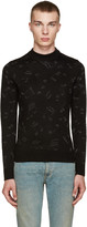 Saint Laurent Black Calf-Hair Music Note Sweater