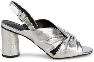 Rebecca Minkoff Agata Metallic-Leather Knot Slingback Sandals