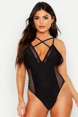 boohoo Mesh Cross Front Swimsuit