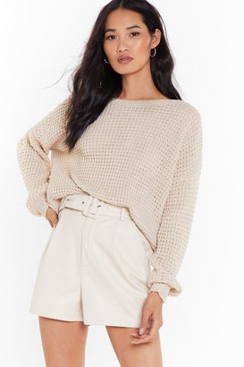 Nasty Gal Womens Crew Neckline and Ribbed Edges Knit Sweater - Oatmeal