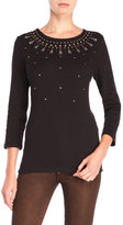 Rafaella Beaded Three-Quarter Sleeve Sweater
