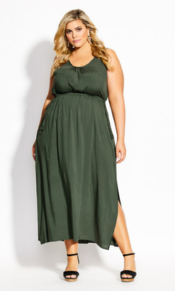 City Chic Sccop Neck Maxi Dress - jungle
