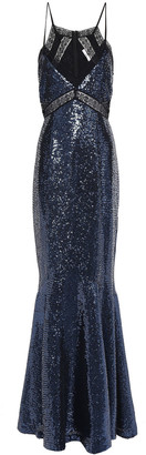 ZAC Zac Posen Lace-trimmed Sequined Georgette Gown