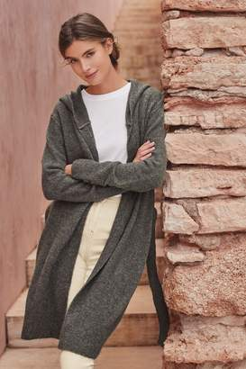Next Womens Charcoal Hooded Long Cardigan - Grey