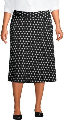 Lands' End Plus Size Print Knit Midi Skirt