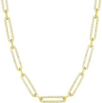 Sphera Milano 14K Yellow Gold Plated Sterling Silver Pave CZ Link Choker Necklace