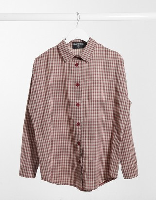 Heartbreak oversized checked shirt in burnt orange
