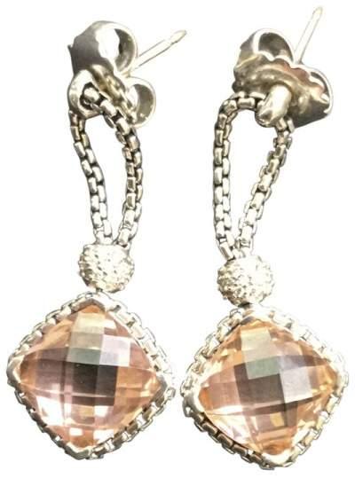 David Yurman David Yurmam Cushion-On-Point Morganite and Diamond Earrings