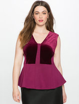 ELOQUII Plus Size Colorblock Sleeveless Peplum Top