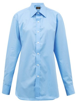 Emma Willis Riviera Cotton-poplin Shirt - Light Blue
