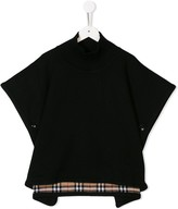Burberry TEEN checked trim poncho