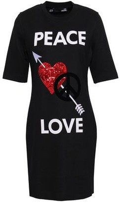 Love Moschino Embellished Printed Jersey Mini Dress