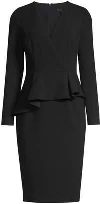 Black Halo Jacquelyn Asymmetric Peplum Sheath Dress