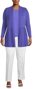Anne Klein Plus Size Waist-Seam Cardigan