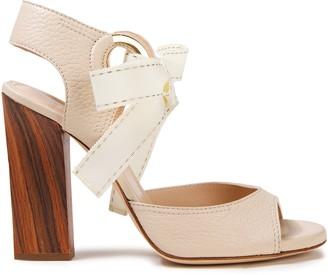 Lanvin Bow-detailed Grosgrain-trimmed Pebbled-leather Sandals