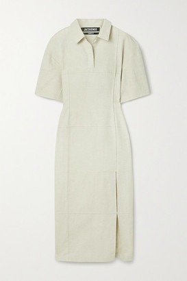 Jacquemus Carro Cotton And Linen-blend Midi Shirt Dress - Beige