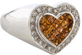 Ring 18K Orange Sapphire & Diamond