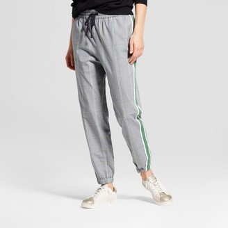 Who What Wear Women's Plaid Woven Jogger Green Plaid