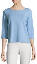 Eileen Fisher 3/4-Sleeve Ballet-Neck Organic Cotton Top