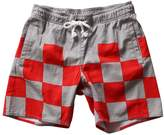 SAFS Men's Casual Cotton Wide Striped Swim Trunks Boardshorts Red