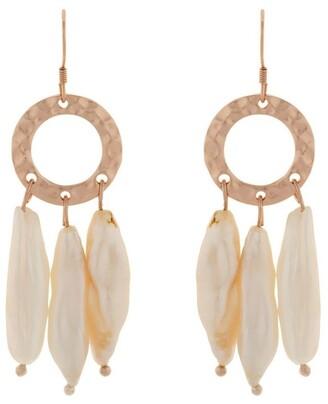 Mocha Ring Of Life Pearl Drop Earrings - Rose Gold