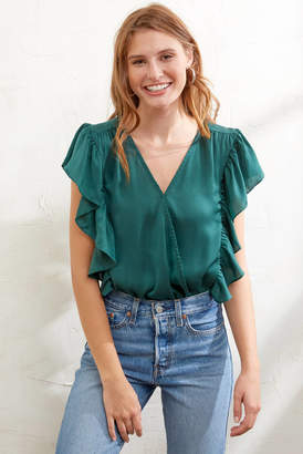 A Love Like You Ruffle Sleeve Surplice Bodysuit Green S