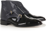 Leather monk-strap ankle boots