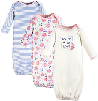 Touched by Nature Girls' Infant Gowns Pink - Blue & Pink Rose 'Made with Love' Organic Cotton Gown Set - Newborn