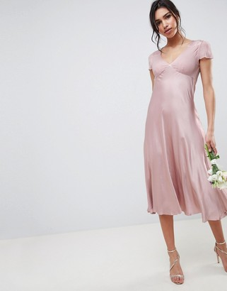 Ghost bridesmaid capped sleeve maxi dress-Pink