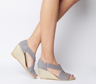 Office Maiden Wedge Heels - Wide Fit Grey Suede