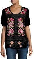 Johnny Was Hila Rose-Embroidered Velvet Tee, Black, Plus Size