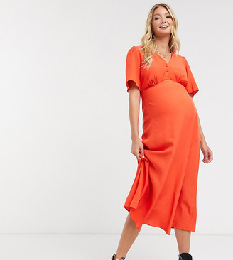 New Look Maternity midi tea dress in burnt orange