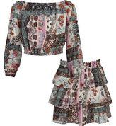River Island Girls print bardot top and rara skirt outfit