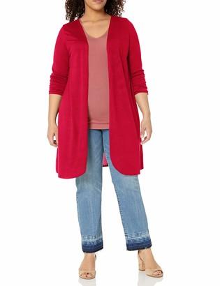 Star Vixen Women's Plus Size Petite Long Sleeve Lightweight Open Cardigan Sweater