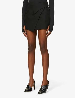 Wardrobe NYC Wrap-front wool mini skirt