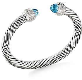David Yurman Cable Bracelet with Blue Topaz & Diamonds