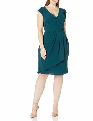 City Chic Women's Apparel Women's Plus Size Faux wrap Dress with Pleated Waist Detail