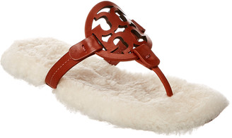 Tory Burch Miller Shearling Leather Sandal