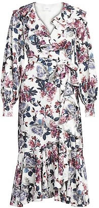Erdem Jerridine Rose Blossom Ruffled Wrap Dress