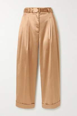 Peter Pilotto Cropped Belted Satin Wide-leg Pants - Sand