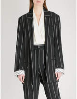 Haider Ackermann Striped single-breasted crepe blazer