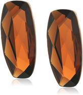 Robert Lee Morris The Bigger Stone Brown Faceted Stone Clip-On Earrings