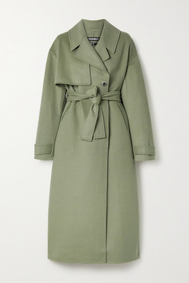 Jacquemus Sabe Belted Wool-blend Felt Coat - Gray green