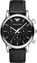 Emporio Armani AR1733 stainless steel and leather watch