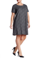 Bobeau Short Sleeve Textured A-Line Dress (Plus)
