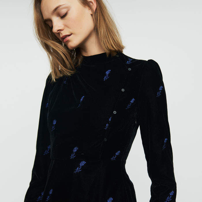 Maje Long-sleeve dress with embroidered