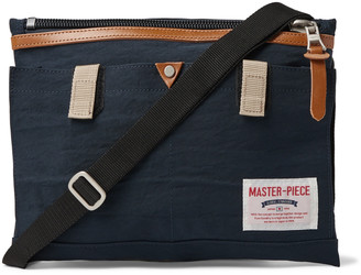 MASTERPIECE Leather-Trimmed Nylon-Twill Messenger Bag