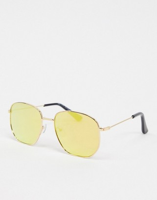 New Look navigator sunglasses in yellow